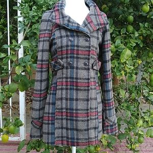 Charlotte ruse plaid pea coat grey and red XS